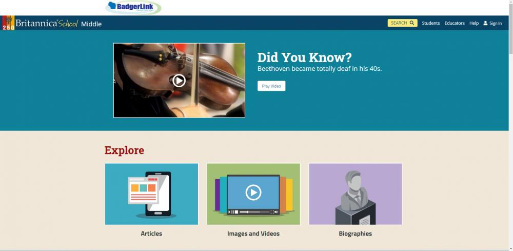 Britannica School - Middle Home Page with New Look