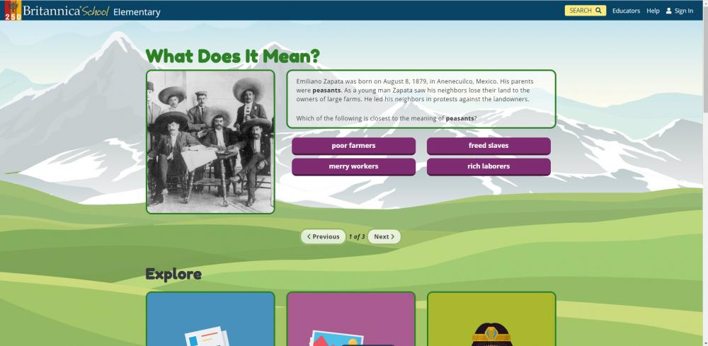 Britannica School - Elementary Home Page with New Look