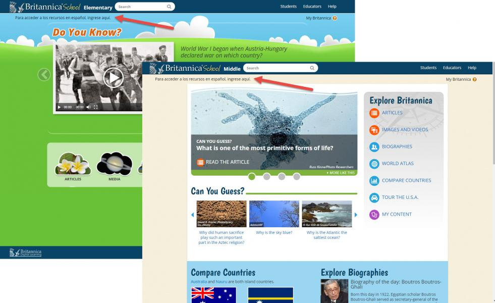 Image of Britannica School homepage with arrow pointing at the link to the spanish version