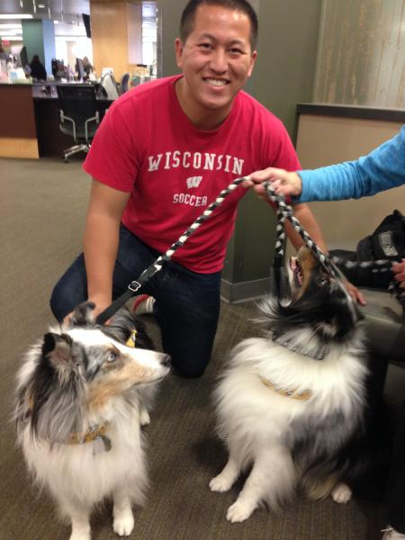 Therapy dogs visit the library. Image provided by Vince Mussehl. CVTC.