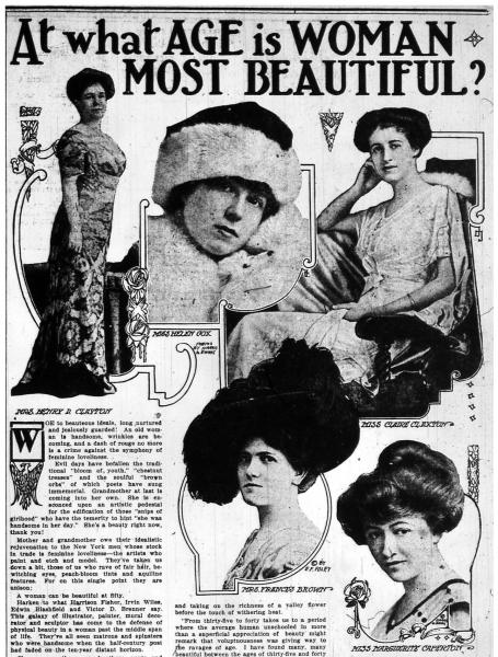 Newspaper article with photos of 1930s women