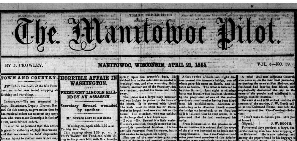 "Historic newspaper with headline ""Horrible Affair in Washington. President Lincoln Killed by Assassin"""
