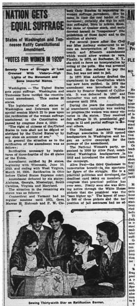 Newspaper clipping with article on women's suffrage