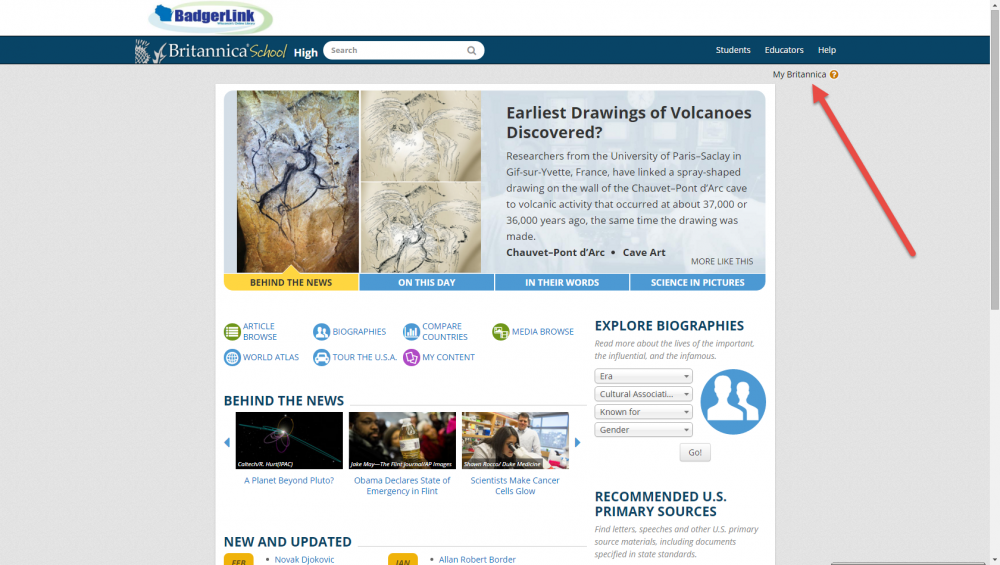 screenshot of Britannica School homepage