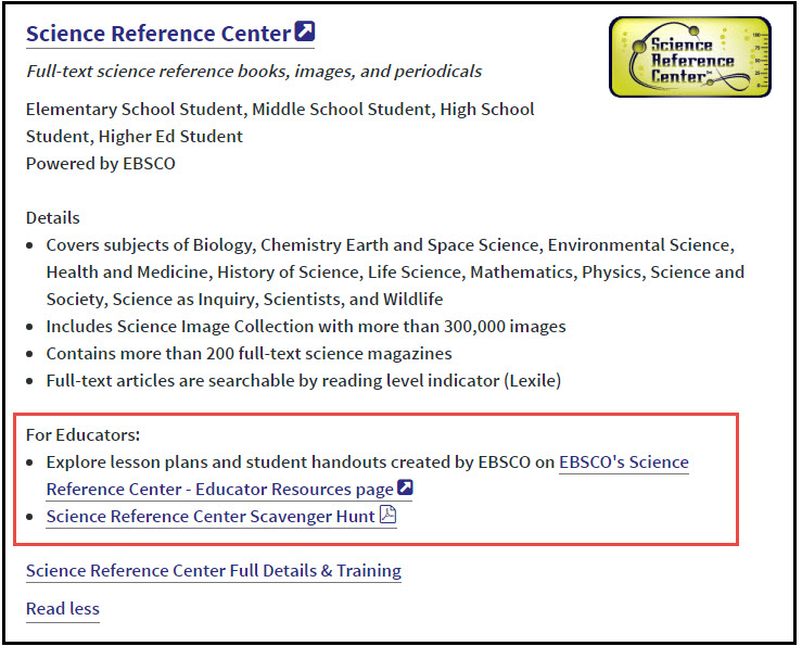 Screenshot showing the For Educators section of the page that you can see when you click on Read more...
