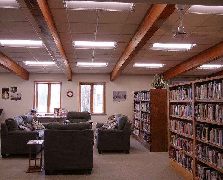 Reading area with comfortable chairs at Rib Lake Public Library