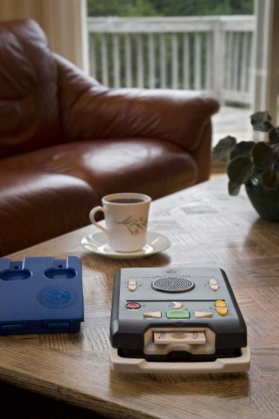 The equipment provided by WTBBL is easy to use at home. This picture shows the playback machine on a coffee table with an inviting cup of coffee.