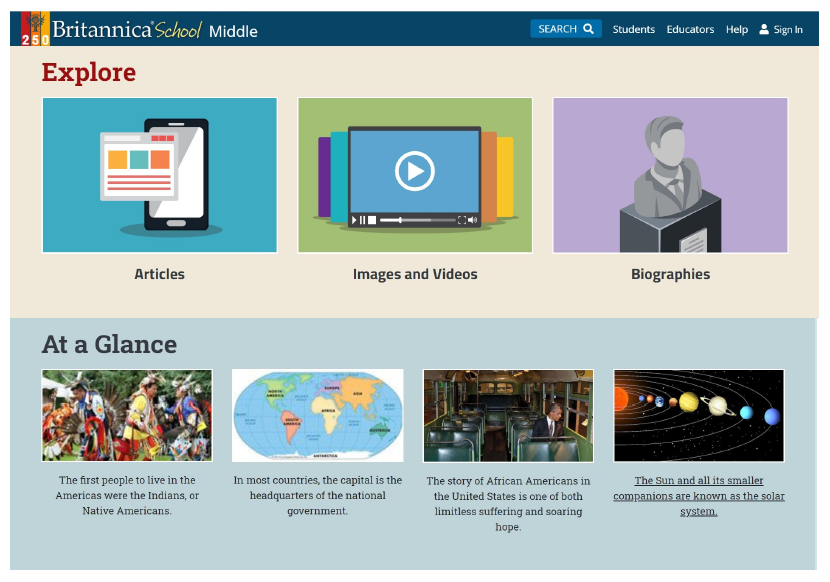 Home page of Britannica School with new look