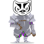 BadgerLink badger mascot dressed up as a knight