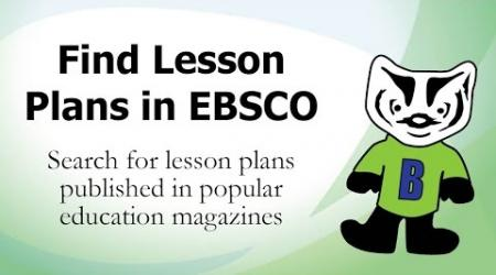 Find Lesson Plans in EBSCO
